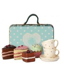 MAILEG Kuffert med kage og kaffestel til 2-00
