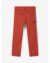 NAME IT X-slim fit twill bukser Burnt Brick-00