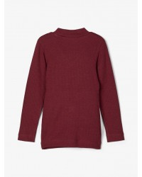 NAME IT Langærmet T-shirt i rib Bordeaux-00