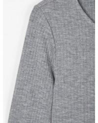 NAME IT Langærmet T-shirt i rib gråmelange-00