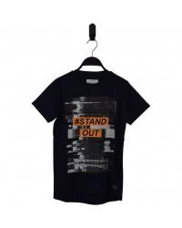 HOUND Lækker T-shirt tofarvet med skriften STAND OUT navy/orange-00