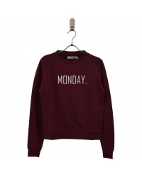 ADD TO BAG Sweatshirt med MONDAY print bordeaux-00