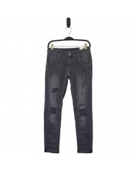 HOUND Semi ripped trashed grey jeans model PIPE-00