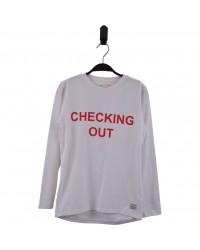 HOUND Langærmet nattrøje med CHECKING OUT print hvid-00