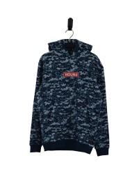 HOUND Sej hoodie i flot fashion minecraft-look mønster blå-00