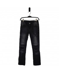 HOUND Semi ripped trashed black jeans model XTRA SLIM-00