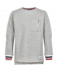 THE NEW Langærmet bluse med brystlomme og flotte ærmekanter grå-00