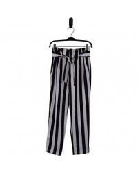 HOUND Højtaljede bukser med flæsekant og bindebånd stribet sort/hvid-00