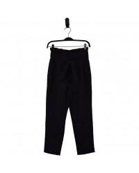 HOUND Højtaljede bukser med flæsekant og bindebånd sort-00