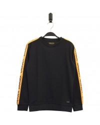 HOUND Sej sweatshirt med gult DANGER-bånd langs ærmerne sort-00