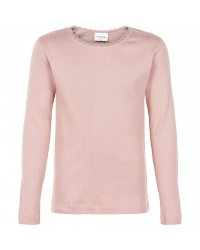 THE NEW Langærmet basis bluse i fin rib med blondekanter rose-00