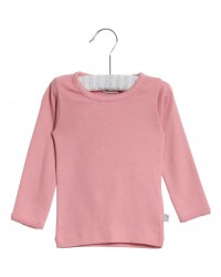 WHEAT Langærmet basis bomuldsbluse blush-00