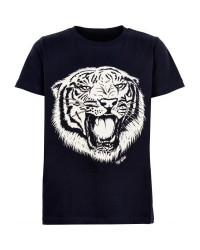 THE NEW SEJ T-SHIRT MED TIGERHOVED-PRINT NAVY-00