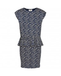 THE NEW KARLA DRESS navy med råhvide blomster-00