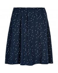 THE NEW Blødt skirt med lommer Kisa navy med hvide prikker-00