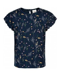 THE NEW Blød T-shirt med print af markblomster navy-00