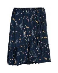 THE NEW Blødt skirt med flæser LOLLY navy med print af markblomster-00