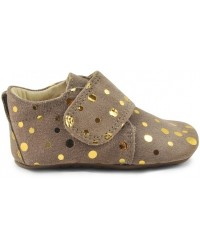 POM POM Hjemmesko Fashion Brown gold dot-00
