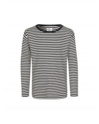MADS NØRGAARD Tobino langærmet T-shirt Navy/Ecru/Navy-00