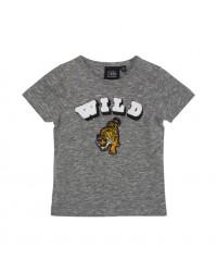 PETIT BY SOFIE SCHNOOR T-shirt med WILD tiger broderi grey melange-00