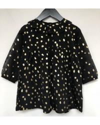 PETIT BY SOFIE SCHNOOR Smuk kjole med krave og rynkedetalje sort med guld-00