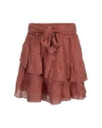 PETIT BY SOFIE SCHNOOR Smukt skirt med flæser og bindebånd rosa-00