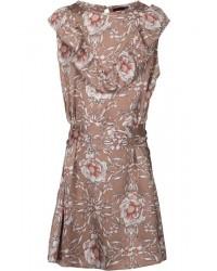PETIT BY SOFIE SCHNOOR Blomstret kjole med flæse og bindebånd karamel-00