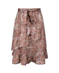 PETIT BY SOFIE SCHNOOR Blomstret skirt med flæser og bindebånd karamel-00