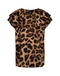PETIT BY SOFIE SCHNOOR Kortærmet bluse i leopard print med stor flæse på brystet-00