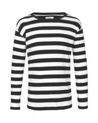 MADS NØRGAARD Tobino lang ærmet T-shirt Black/White-00