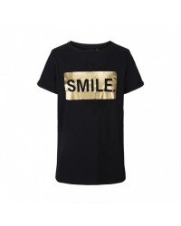 PETIT BY SOFIE SCHNOOR SMIL T-shirt sort med guldprint-00