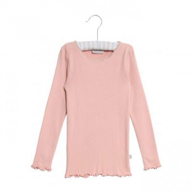 WHEAT Rib T-shirt lace LS Misty rose-02