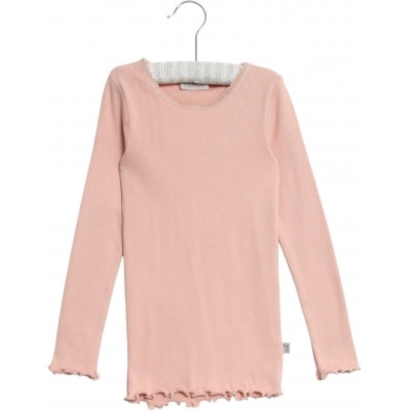 WHEAT Rib langærmet T-shirt Rose powder-35