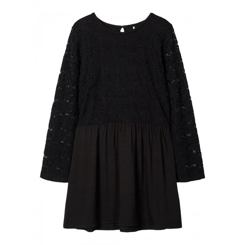 NAME IT Langærmet kjole med blonde Sort-31