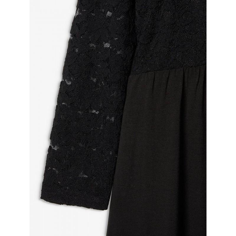 NAME IT Langærmet kjole med blonde Sort-01