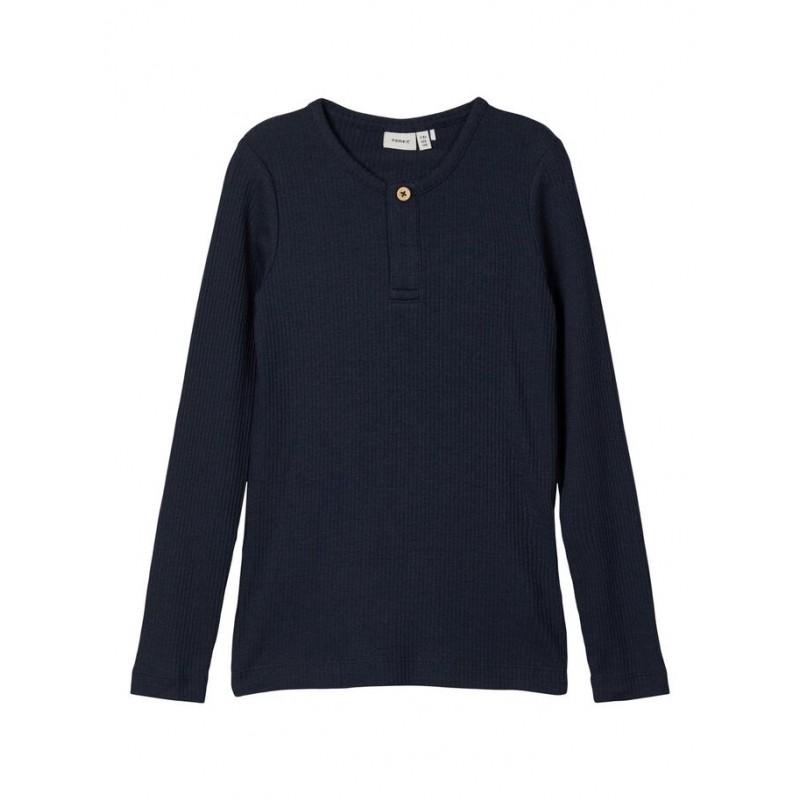 NAME IT Langærmet T-shirt i rib Mørkeblå-31