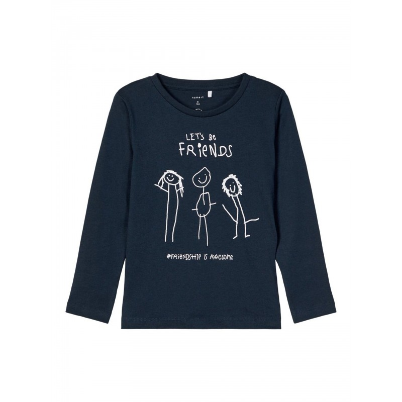 NAME IT Lets be friends T-shirt Dark Saphire-31