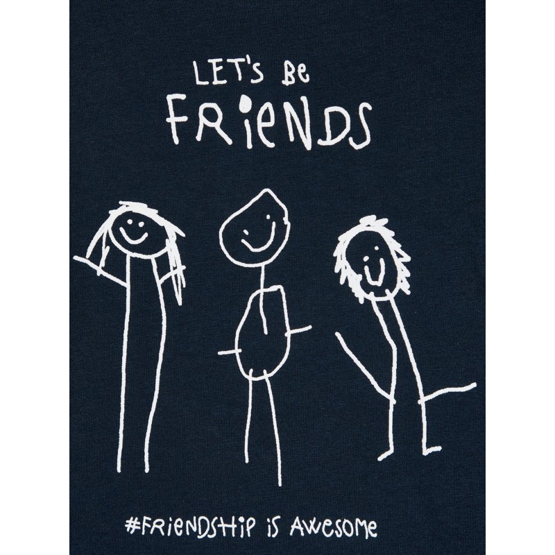 NAME IT Lets be friends T-shirt Dark Saphire-01