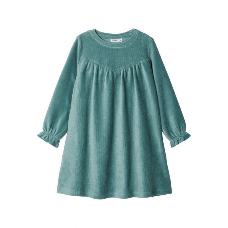 NAME IT Velour kjole i rib Grøn-32
