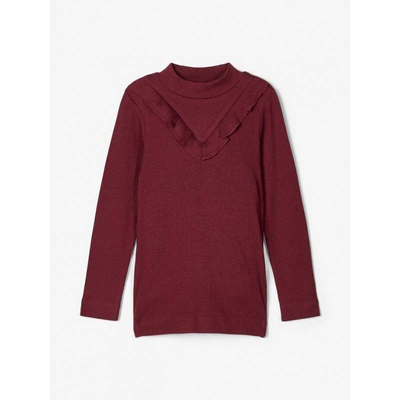 NAME IT Langærmet T-shirt i rib Bordeaux-32