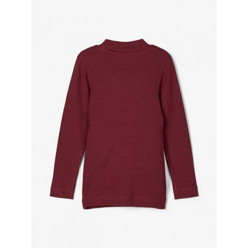 NAME IT Langærmet T-shirt i rib Bordeaux-02
