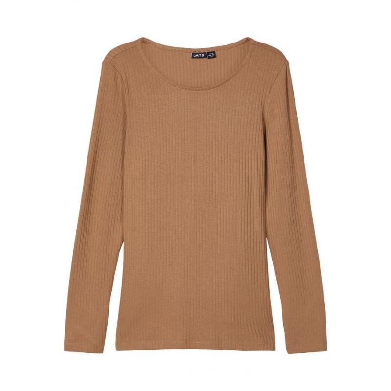 NAME IT langærmet T-shirt i rib Brun-31