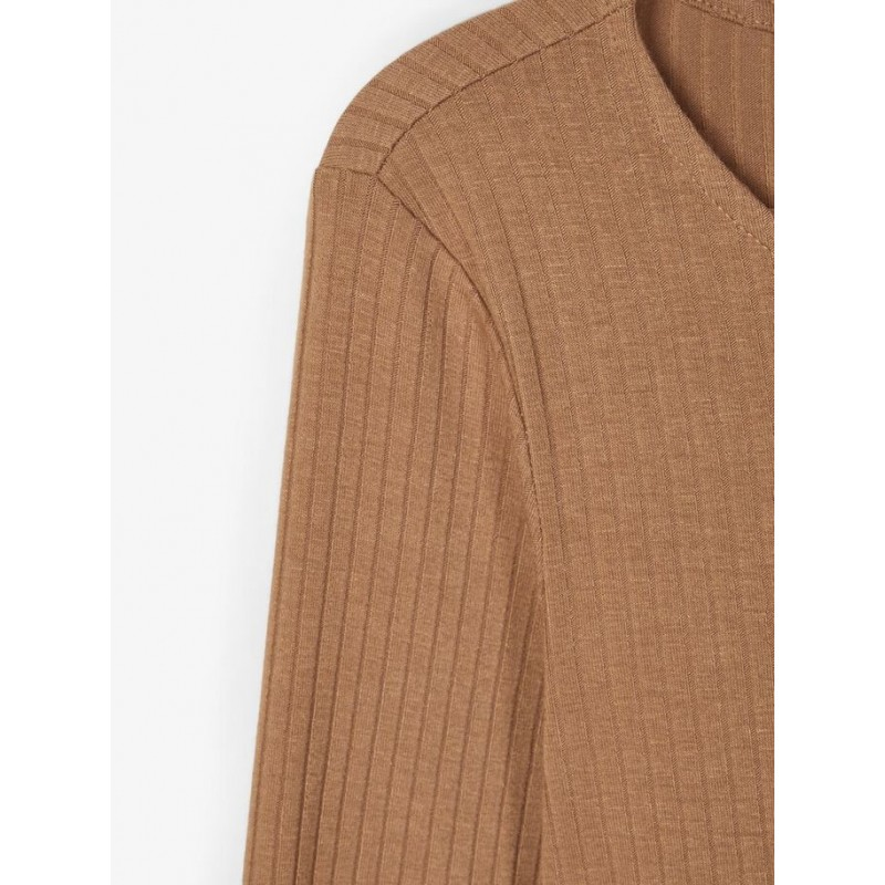 NAME IT langærmet T-shirt i rib Brun-01