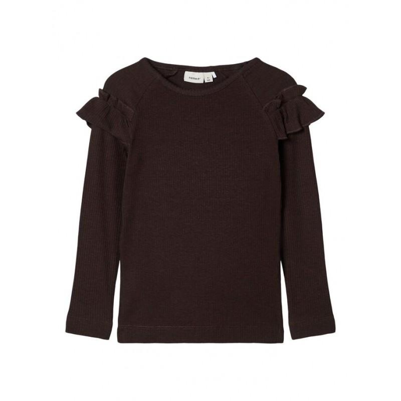 NAME IT Langærmet T-shirt med flæser Brun-31