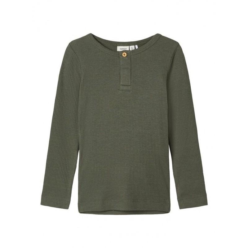 NAME IT Langærmet T-shirt i rib Army-31