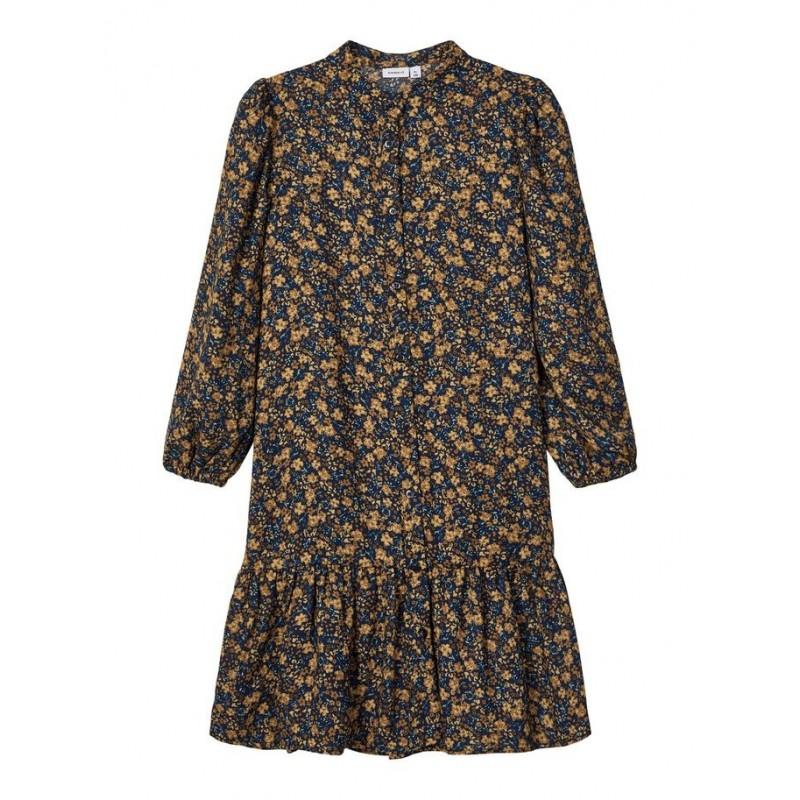 NAME IT Midi kjole Blomstrede darksaphir-33
