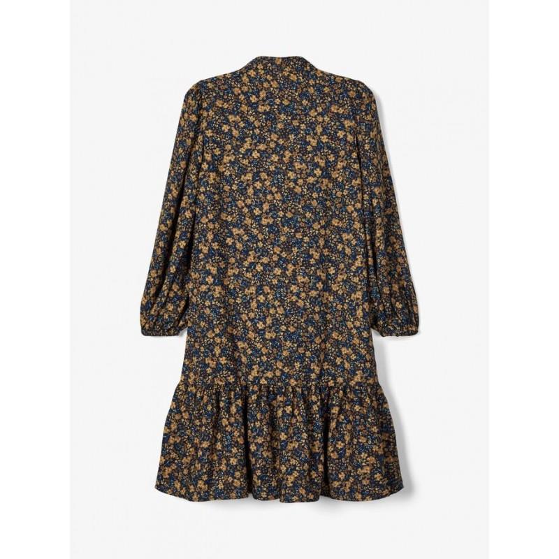 NAME IT Midi kjole Blomstrede darksaphir-03