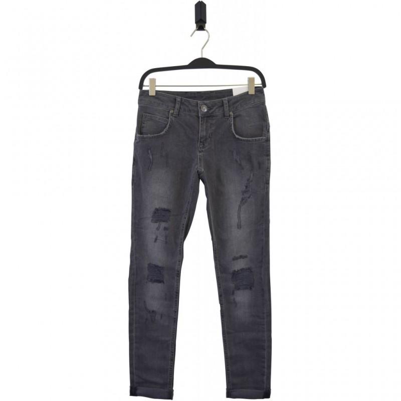 HOUND Semi ripped trashed grey jeans model PIPE-33
