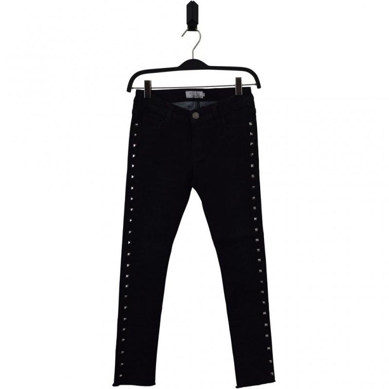 HOUND Seje stretch jeans med raw cut og nitter used black-31