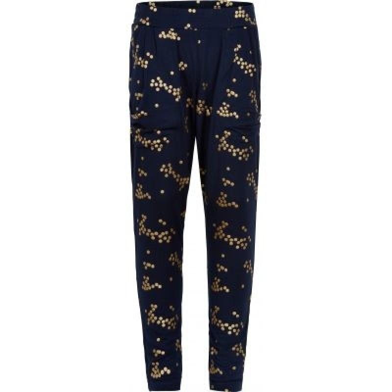 Smarte, bløde bukser JAMI navy med guldprikker-31